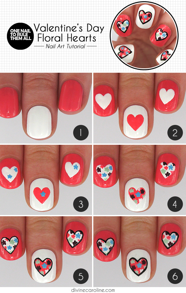 Floral Heart Nail Design