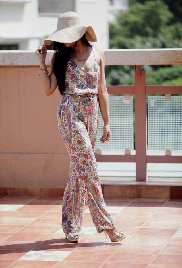 Floral Jumpsuit with High Heels