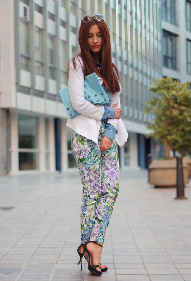 Floral Outfit Idea with Ankle Strap Shoes