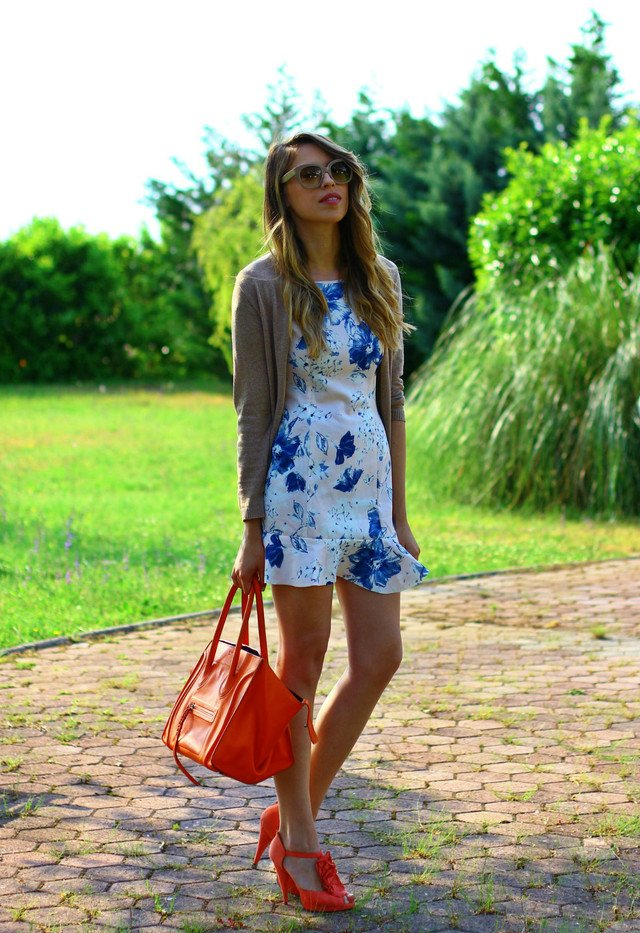 Floral Printed Dress with Orange Sandals
