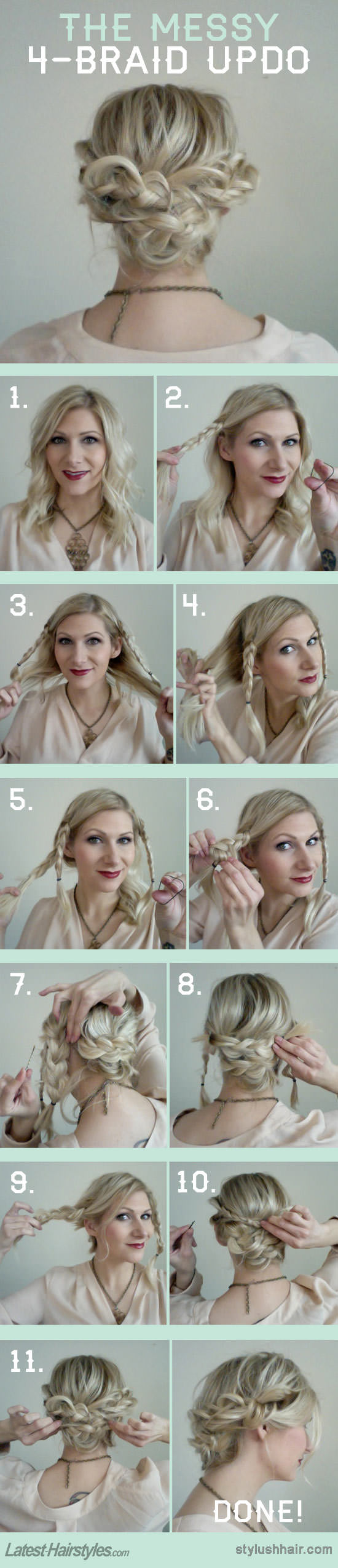 Wear a braided updo for the season braided updo tutorials pretty four braid updo solutioingenieria Image collections