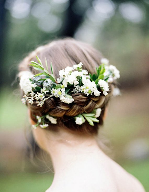 Fresh Braided Wedding Hairstyle with Flowers