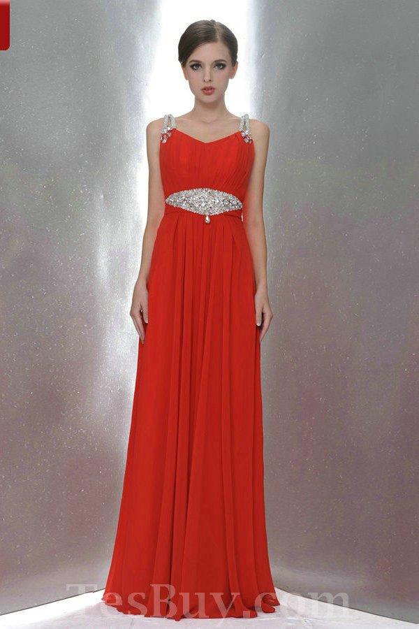 Full Length Beaded Straps Elegant Red Bridesmaid Dress