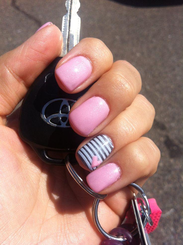Gliter Pink Nail Design Idea