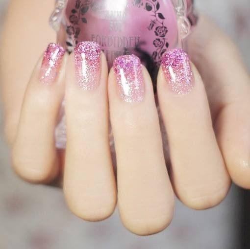 Glitter Pink Nails