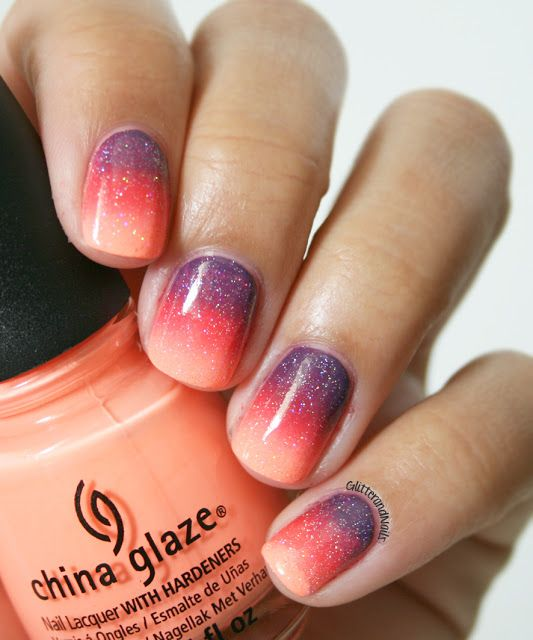 Glitter Sunset Nails