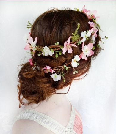 Graceful Updo Hairstyle with Flower Crown