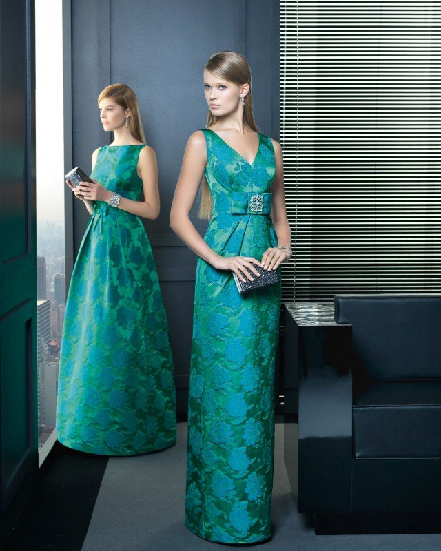 Green Dress with Blue Flowers