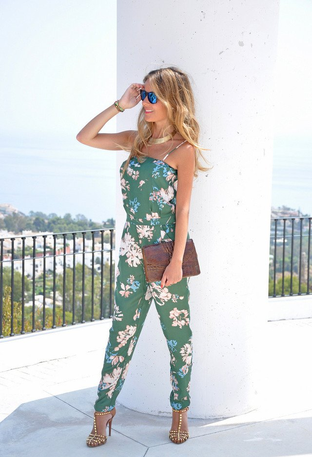 Green Floral Jumpsuit Outfit