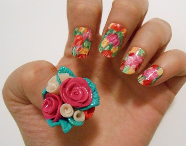 20 Beautiful Floral Nail Designs With Vintage Glamour