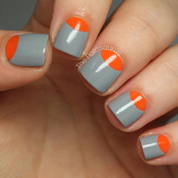 Grey and Orange Nails
