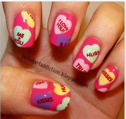 Colorful Heart Nail Designs