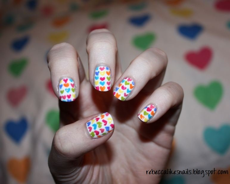 Patterned Heart Nail Designs