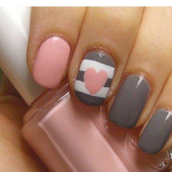 Grey Heart Nail Designs