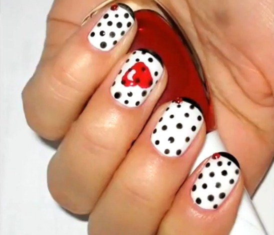 Dotted Heart Nail Designs