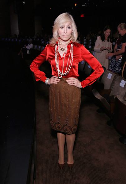 Judith Light Red Shirt with Pearl Necklace