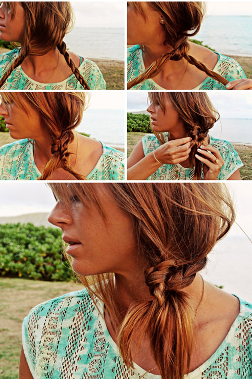 Beach Hairstyles 30 cute and messy beach hairstyles for summer 2016 Knotted Braid Side Pony