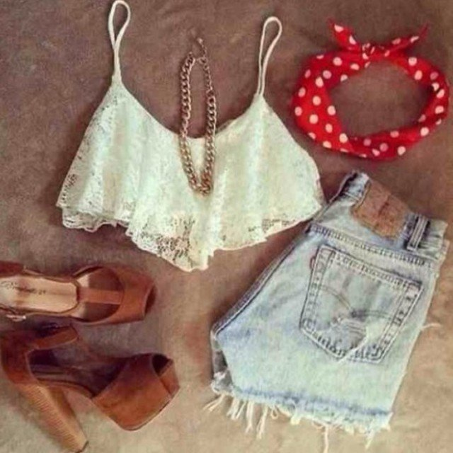 Lace Crop Top with Denim Shorts Outfit