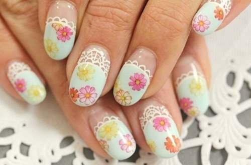 Lacey floral nail design