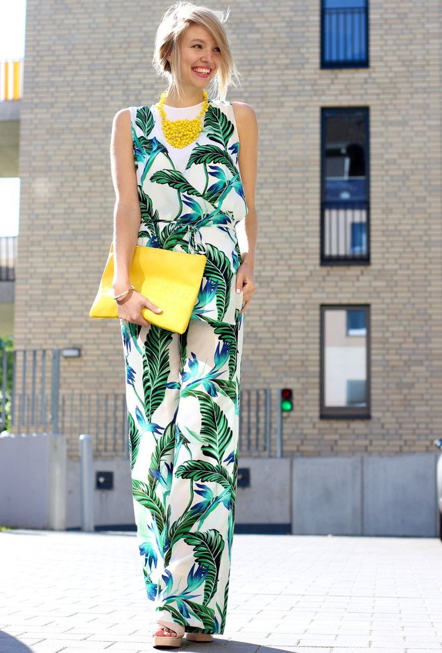 Leaves Printed Jumpsuit Outfit