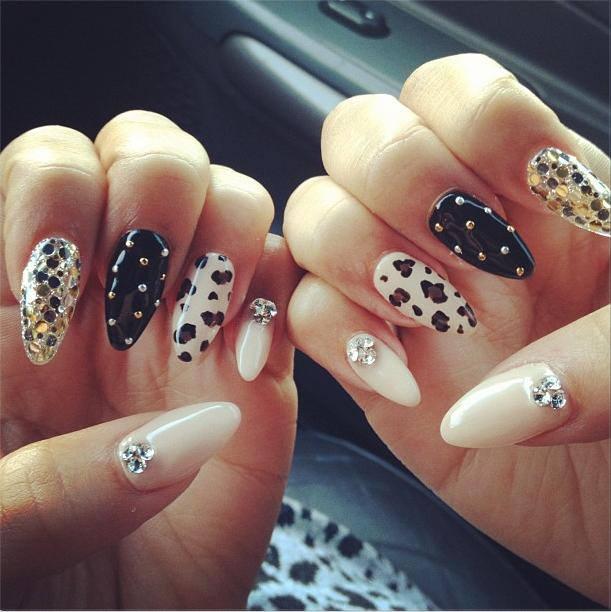 Leopard Print Stiletto Nails