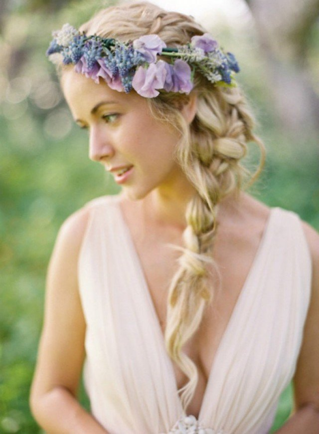 Lovely Braided Wedding Hairstyle with Purple Flowers