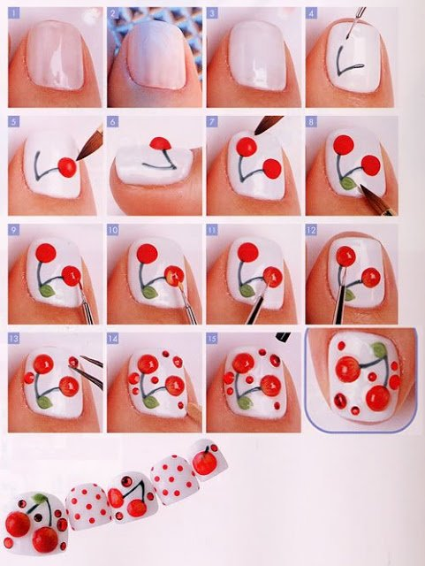 Lovely Cherry Nail Design