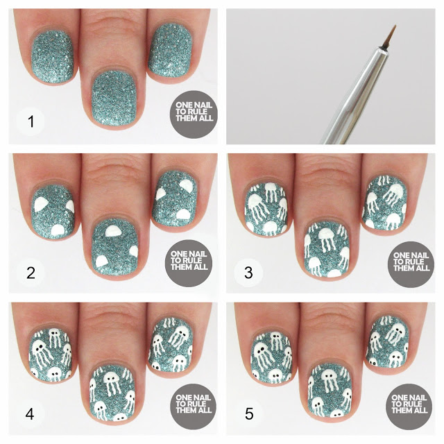 Lovely Sequined Nail Design