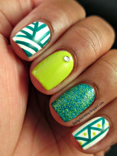 Mint Mismatched Nail Designs