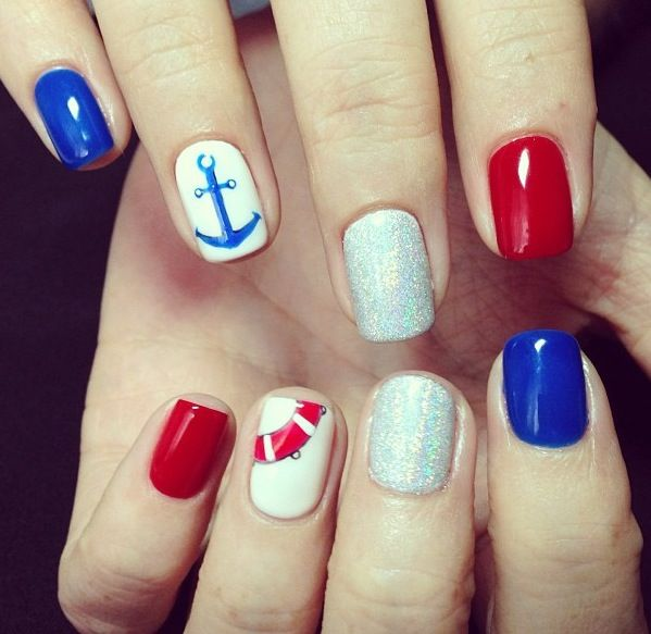 Nautical Nails with Glitter