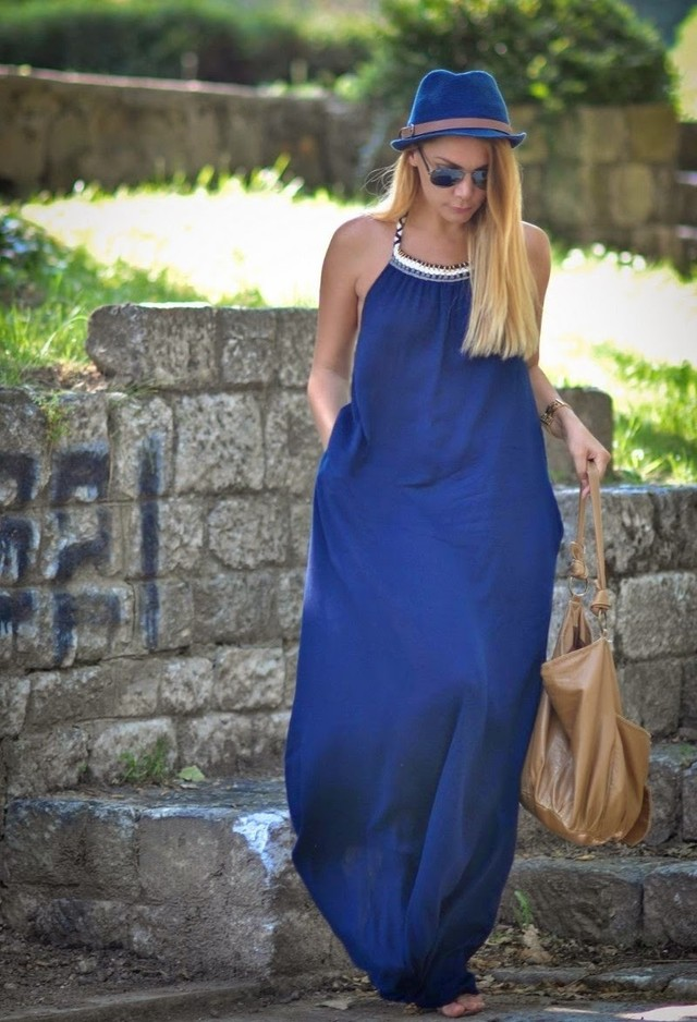 Navy Blue Maxi Dress with a Blue Hat