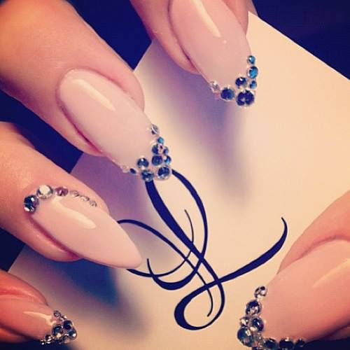 Nude Embellished Stiletto Nails