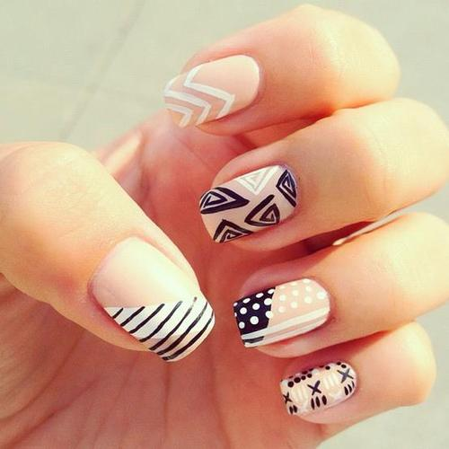 Nude Mismatched Nail Designs