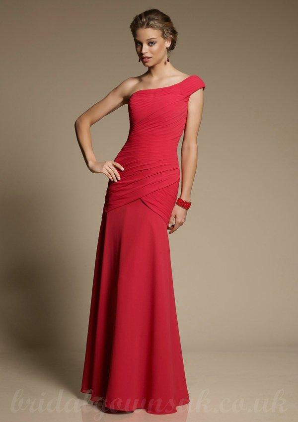 One Shoulder Red Bridesmaid Dresses