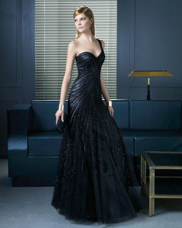 One-shoulder Black Long Dress