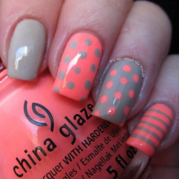 Orange Dotted Nail Design Idea