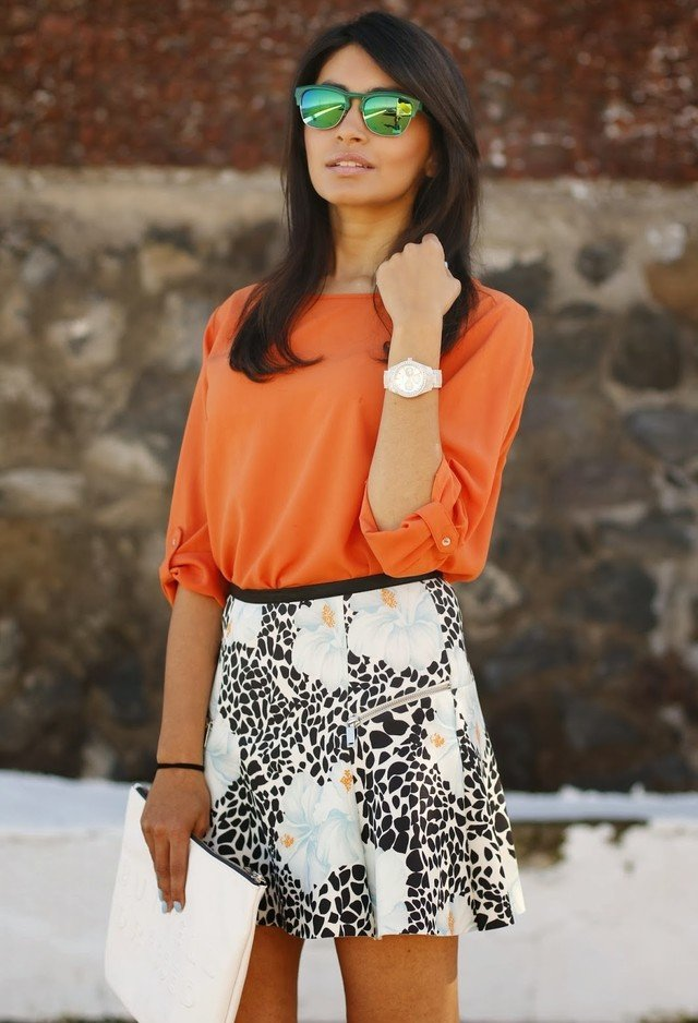 Orange Shirt and Floral Skirt Outfit