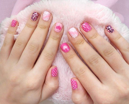 Pastel Pink Mismatched Nail Designs
