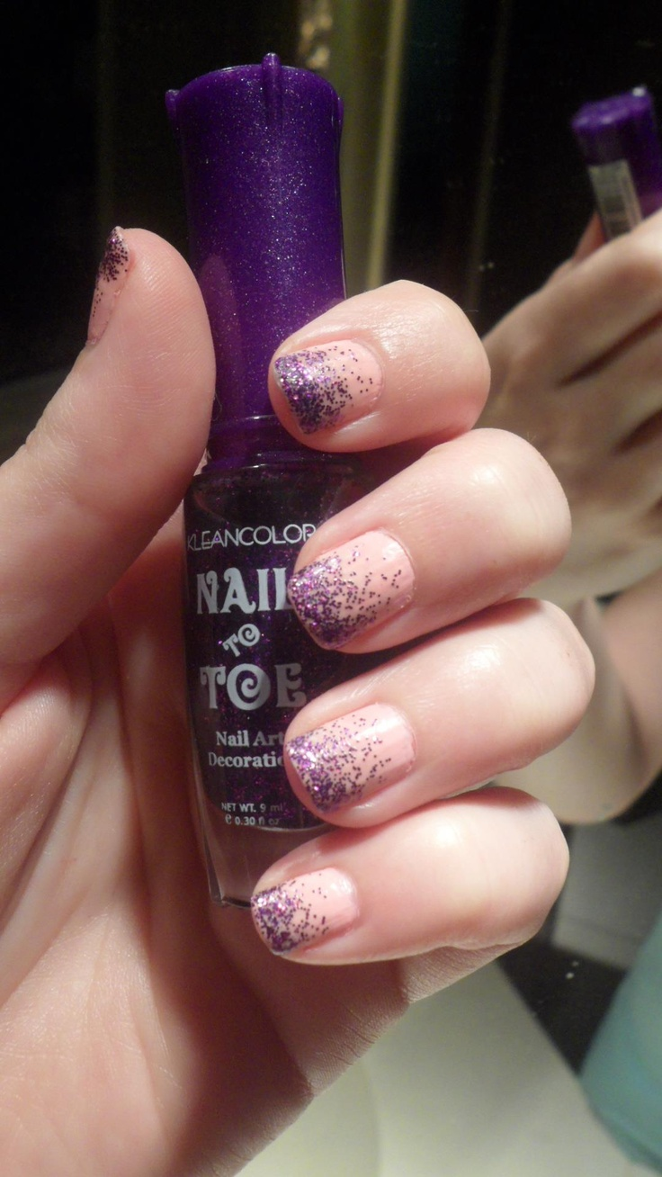 Pink Nails with Purple Glitter