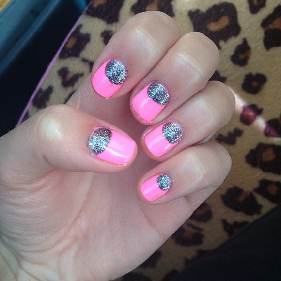 Pink Nails with Sliver Glitter