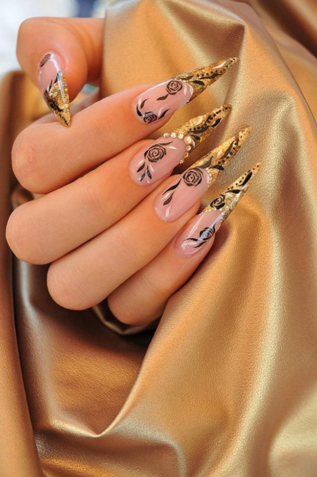 Nail Art Pink And Golden The Best Inspiration For Design And Color