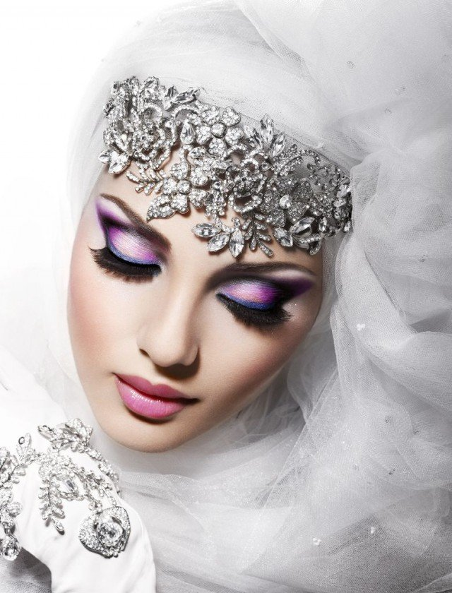 Pink and Purple Makeup Idea for Wedding