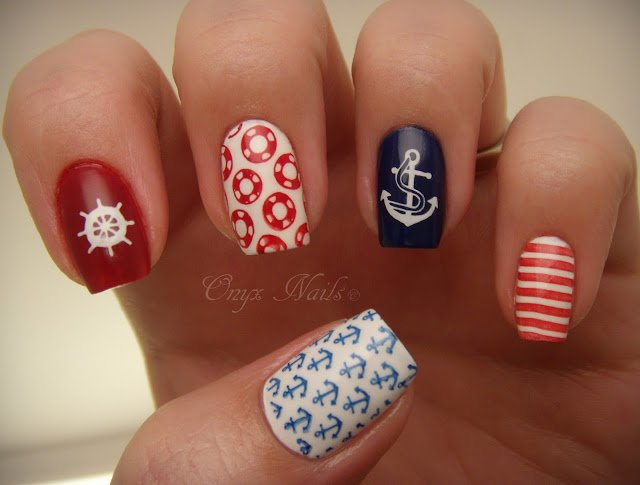 Pretty Nautical Nails - Summer Nail Designs To Have: Nautical Nails - Pretty Designs