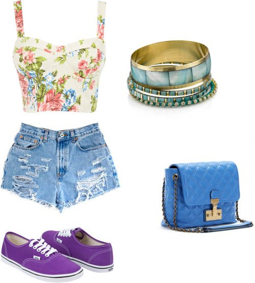 Pretty Outfit Idea with High Waisted Shorts