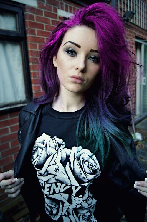 Purple Hair with Blue Ends