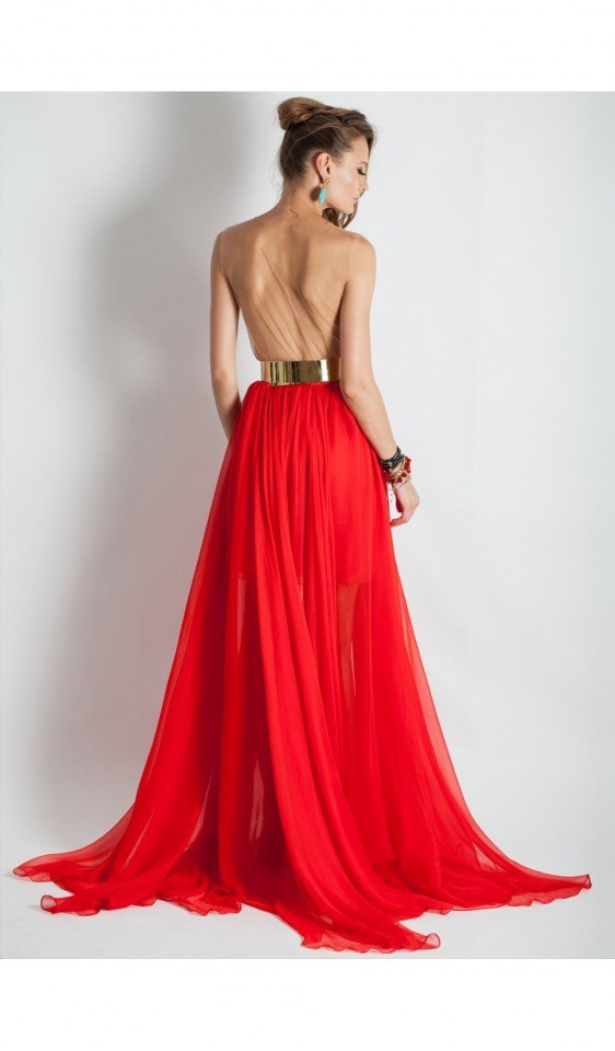 Red Gown with Metallic Belt
