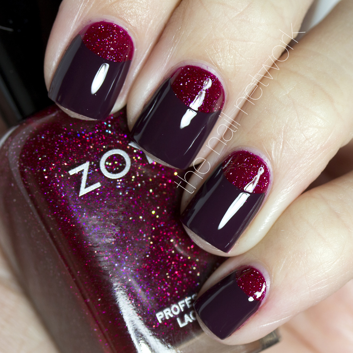 Red Nails with Glitter