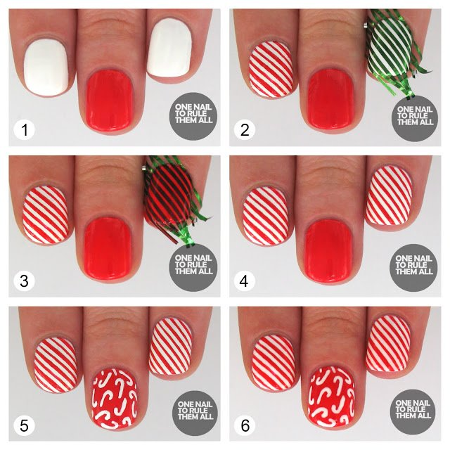 Red Striped Nail Design