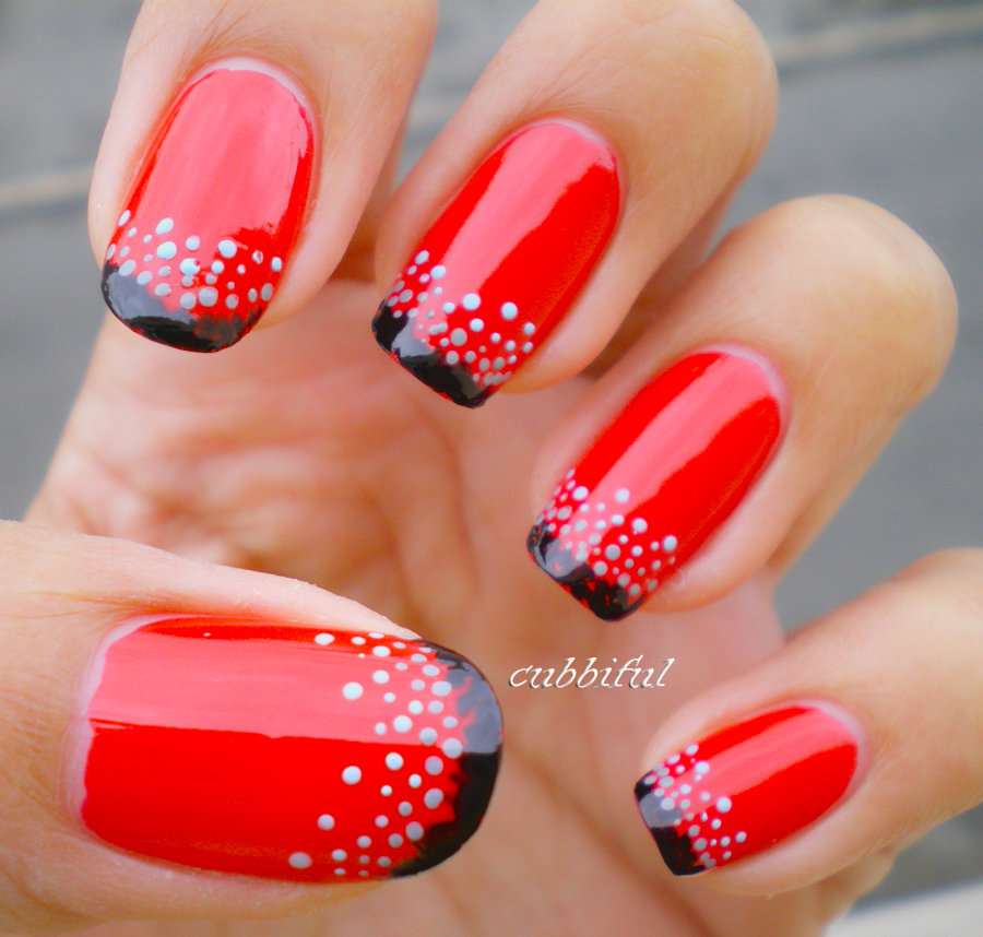 Red and black nails for you to try pretty designs red and black nails with dots prinsesfo Images
