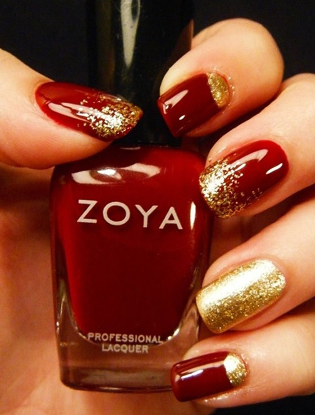 Red And Golden Nails Art Design
